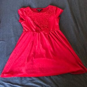 Red girls velour holiday dress